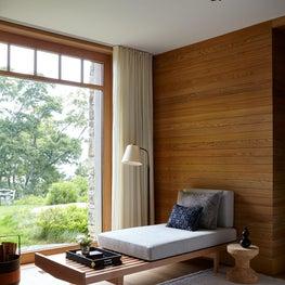 Scandinavian Style Mid Century Wood Paneled New England House Guest Bedroom