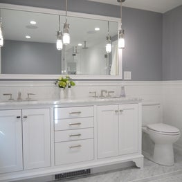 Classic Master Bath with Custom White Vanity with Hanging Pendant Lights