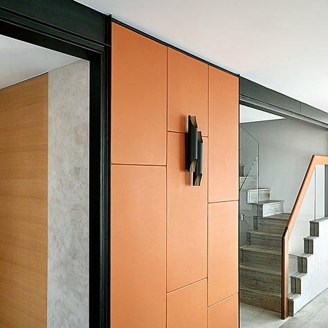 Leather walls at CitySpire duplex