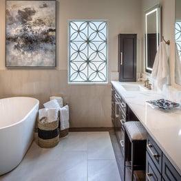 Master bath with custom designed window pane and electric mirror.