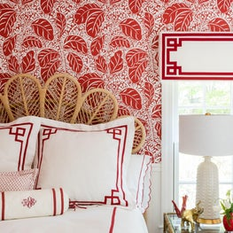 Trellis Home Design_Red and White Banana Leaf Guest Room