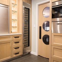 Custom Built Modern Rustic Kitchen with Wine Fridge and Port Hole Swing Door in New York