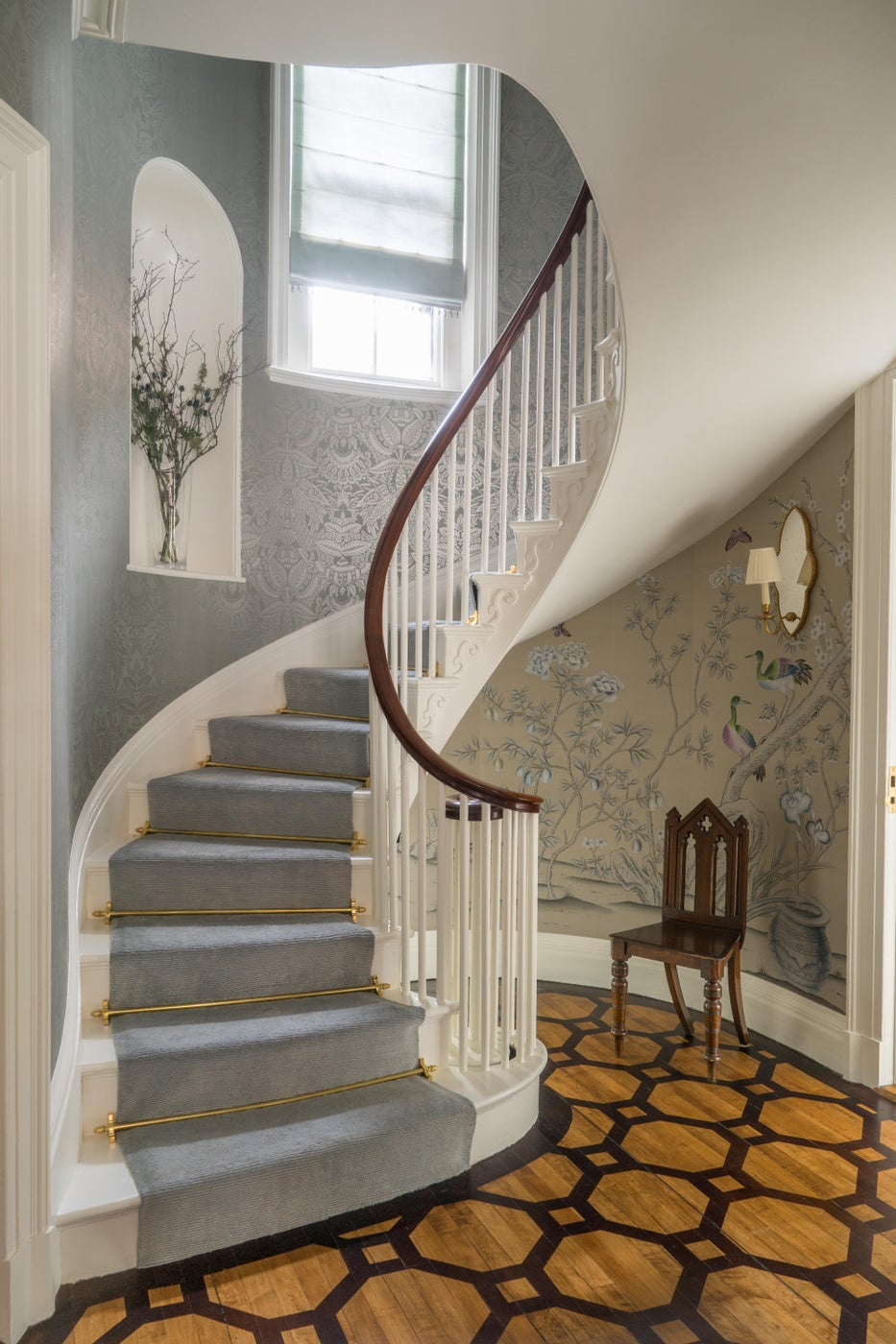 Beacon Hill Foyer with Painted Marquetry Floor and Spiral Staircase