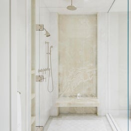 Walk in Shower with Full Stone Slab Wall