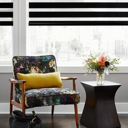 Chicago colorful flower pattern detail +simple black and white window treatment.