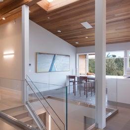 Portola Valley contemporary renovation. Staircase area.