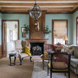 lake house study fireplace