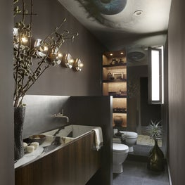 Moody powder room, featuring our custom vanity and sink.