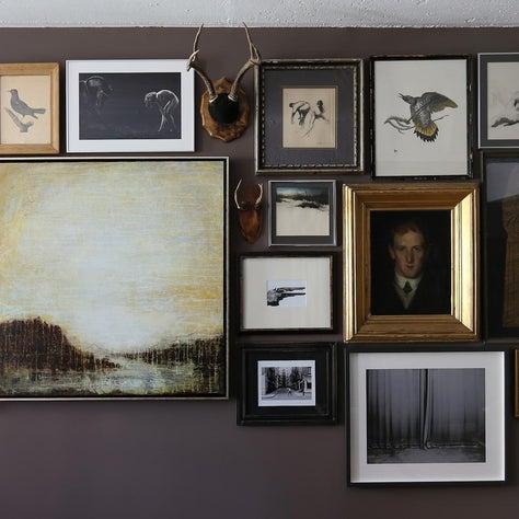 West Village Pied-à-terre Salon Wall/ Gallery Wall, Artwork Mix, Dark Brown Wall