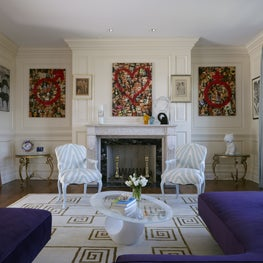 Greenwich Whimsy: vintage furniture pieces with art collection and satin drapery