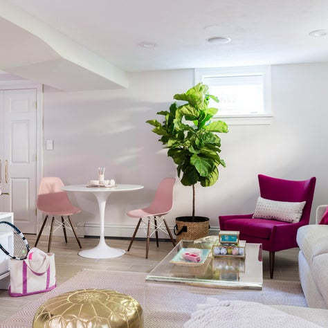 Tween Suite: glam meets preppy. This hang out-space for a young pre-teen and her friends is filled with fun bright fuchsia and brassy gold tones.