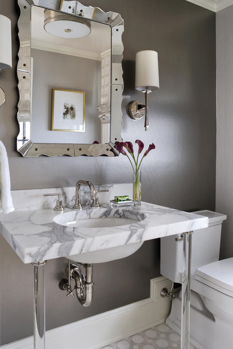 Powder room with Marble Washstand with Lucite Legs