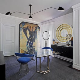 Oversize Art and Vintage Mix of Furniture and Art in this Home Office