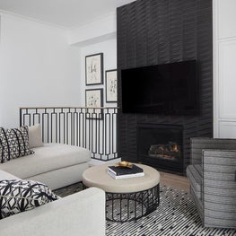 16th Avenue Residence, Great Room with custom fireplace surround in black