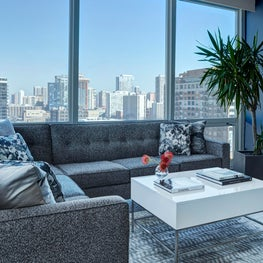 Chicago Condo, Blue Sectional, White Lacquer, Chrome,