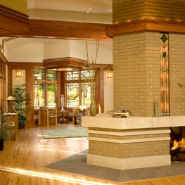 Modern Prairie Style Fireplace with Backlit Art Glass