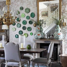 Traditional and classic dining room with antiques and Ralph Lauren wallpaper