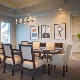 Gulf Front Residence, Dining with original artwork and coffered ceiling
