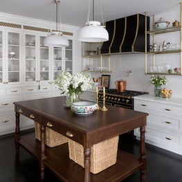 Traditional farmhouse kitchen with modern details, floral wallpaper