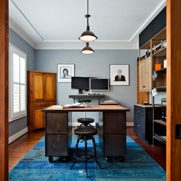 This former dining room was customized to fit the needs of a home office.