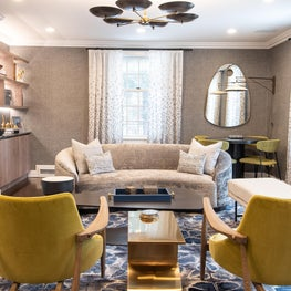 Bright Living Room with Pops of Color and the Perfect Game Table Corner for Entertaning