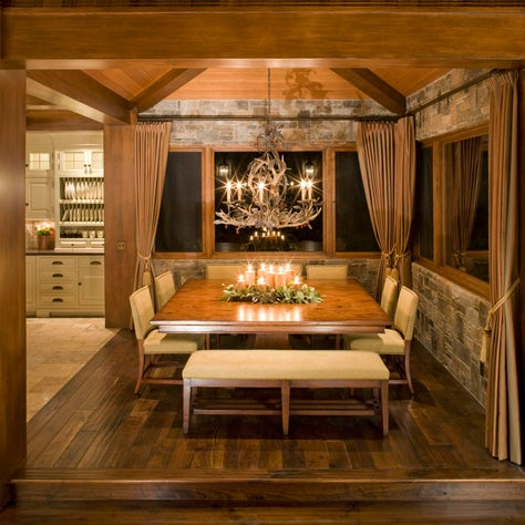 Traditional Mountain home in Mammoth, Dining Area with stone walls