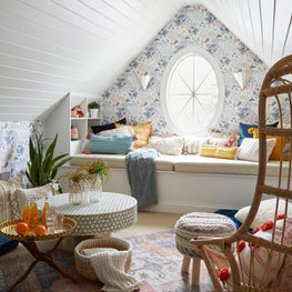 An Attic Renovation leaves a pair of tweens with a whimsical, yet comfortable place to hang out.