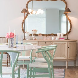 Mint Dining Chairs + Gold Accents + Pastel Decor