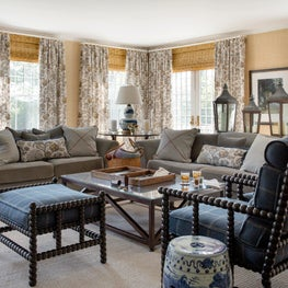 Concord Family Room with Grasscloth Walls and Bennison Curtain Panels
