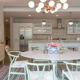 La Patisserie Kitchen - Mint Chairs + Gold Lighting + Pastel Accents