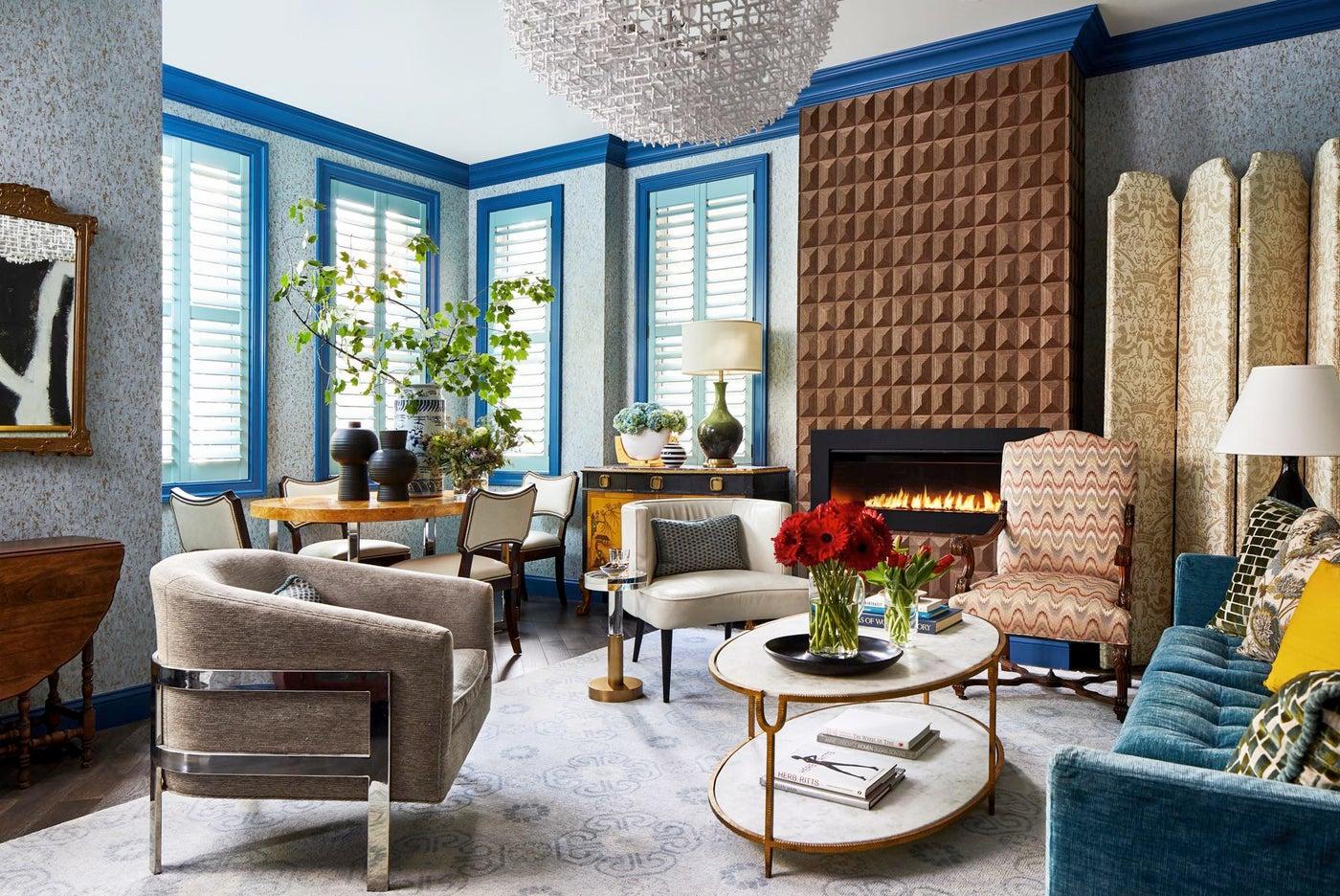 Wood Veneer Fireplace Living Space Mixed Metals Coffee Table Blue Trim Rug