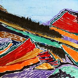 """Upheaval"" 16x16"" resin on canvas"