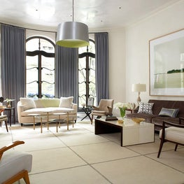 Timeless living room, mixes contemporary and vintage furniture, neutral palette.
