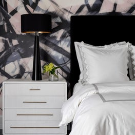 Secondary Bedroom with Black Velvet Headboard