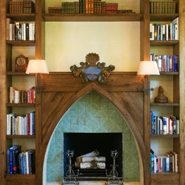 Fireplace Mantel in Rustic French-Inspired Villa
