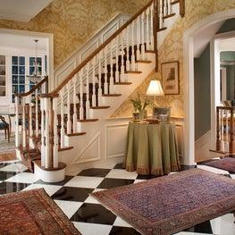 Foyer in Custom, Classic Home by Diane Burgoyne Interiors