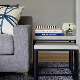 Living room design detail modern end tables