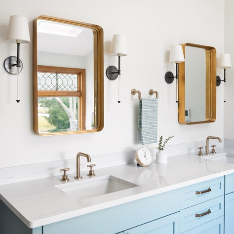 master bathroom/double vanity/painted vanity/mixed finishes/brass plumbing