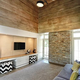 Teen Lounge with vaulted wood ceiling