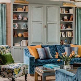 Living room with blue velvet sofa schumacher slipper chair & robins egg bookcase