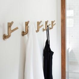 brushed gold hooks/bathroom hallway