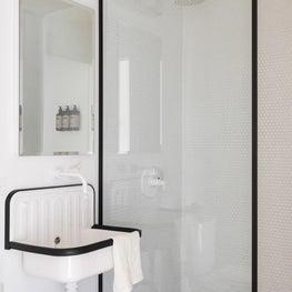 Mies : Wall Mount Sink, Sconce, Metal Frame, Shower, Medicine Cabinet, Black & White