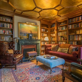 Old World Library with Gilt Coffered Ceiling Decoratively Painted Fireplace