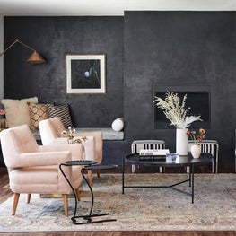 Los Angeles Living Room with Roman Clay Wall Treatment & Vintage Accents