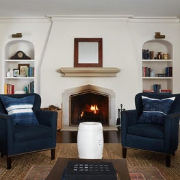 Central Park Living Room with Fireplace and Garden Stool