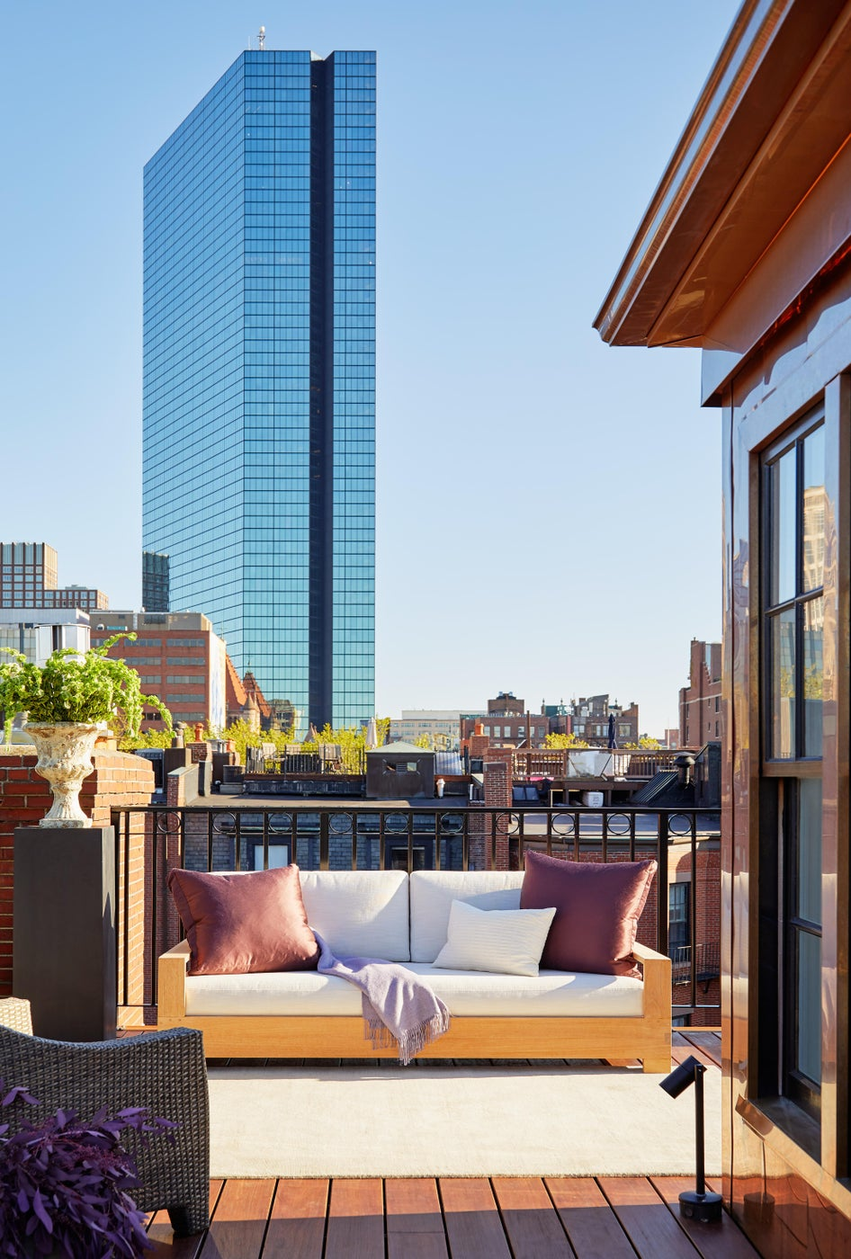 A Historic Boston Back Bay Brownstone Roof Deck with Copper Head-house Feature