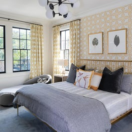 Master Bedroom with tones of yellow and grey