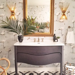 Bohemian Modern Bathroom with Flamingo Wallpaper and Tiled Floor