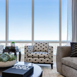Boston, Millennium Tower, Living Room with custom KRID area rug