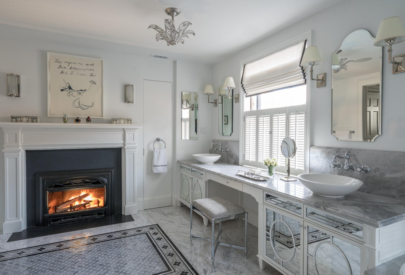 Glamorous Master Bathroom with Double Vanity and Fireplace